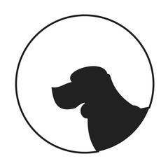 Silhouette of a dog head beagle