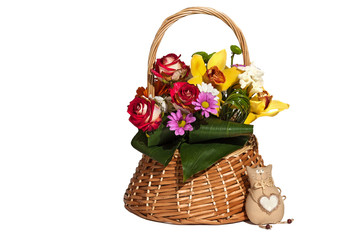 Basket with flowers and toy