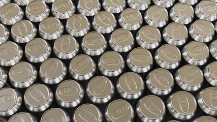 Large Array of Shiny Aluminium Cans