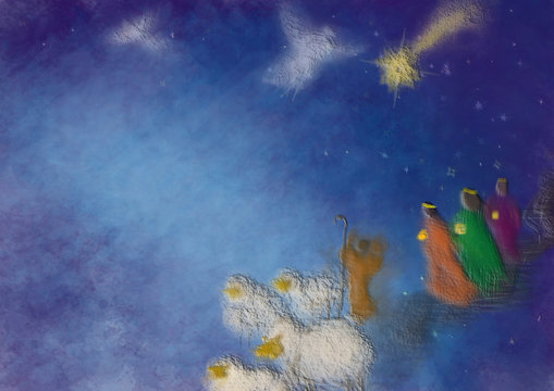 Three kings or three wise men with Christmas star, shepherd with sheep and angels. Bethlehem Christmas nativity scenery, abstract artistic illustration.