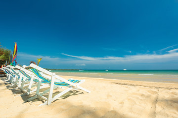 Wall Mural - Chair beach for relaxation at the beautiful exotic beach, Located Koh Mak Island , Thailand