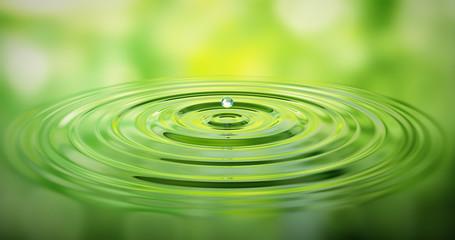 Wassertropfen auf Wasser mit grüner Spiegelung
