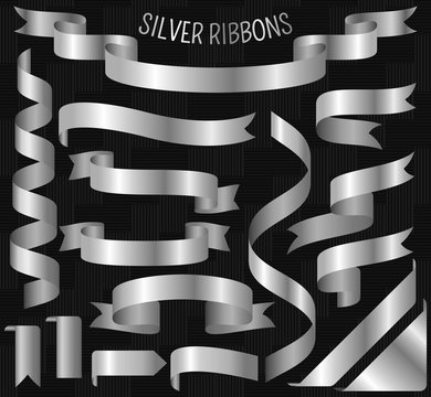 Set of silver ribbons on carbon background. Vector illustration