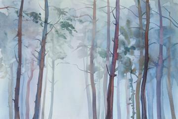 Mglisty lasowy akwareli tło - 125504264