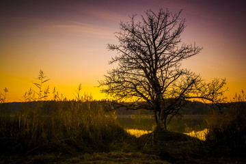 sunset at Osterseen Lake near Iffeldorf Bavaria Germany