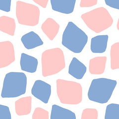 Abstract geometric seamless pattern of spots in color 2016 rose quartz and serenity, pink and blue background mosaic, hand painted vector for textile, wallpaper, web, wrapping, wedding, card, paper