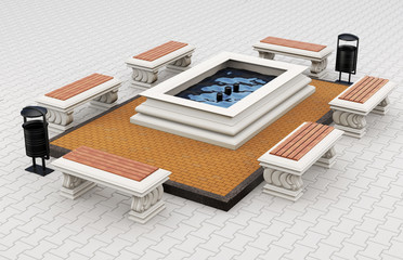 Cityscape benches and fountain. 3d rendering