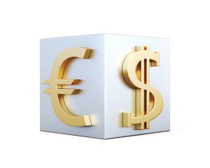 Golden symbols of Euro and dollar on the cube. 3d rendering