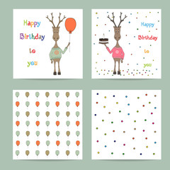 Set cute creative cards templates.