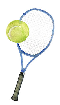 watercolor sketch of tennis racquet on white background