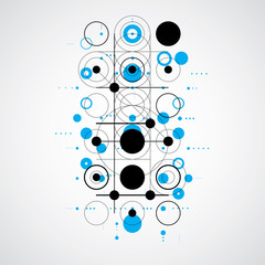 Bauhaus art composition, decorative modular blue vector wallpape