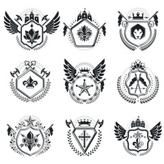 Heraldic Coat of Arms decorative emblems. Collection of symbols