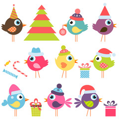 set of funny birds with santa hats