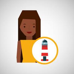 tourist girl cartoon lighthouse design, vector illustration  graphic
