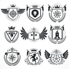 Heraldic designs, vector vintage emblems. Coat of Arms collectio