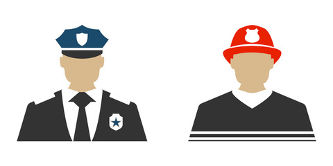 Police officer and Firefighter flat icon. Protect and Serve label. Vector Illustration.