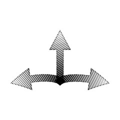 Halftone Linear Black Arrow vector icon symbol design. Illustration isolated on white background. Linear Black Dot Arrow. Vector Arrow Halftone Background.