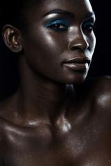 Beautiful close-up portrait glitters of African girls