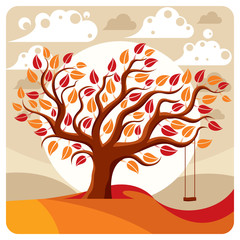 Vector branchy tree with swing on beautiful cloudy autumn landsc