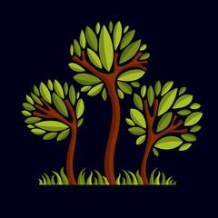 Art fantasy illustration of tree, stylized eco symbol. Graphic d
