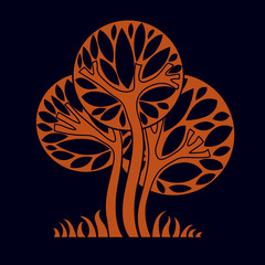 Artistic stylized natural design symbol, creative tree illustrat