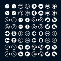 Different vector arrows, pixel icons isolated, collection of 8bi