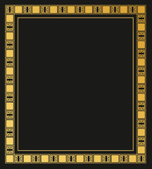 Greek border isolated on black background.decorative gold frame.