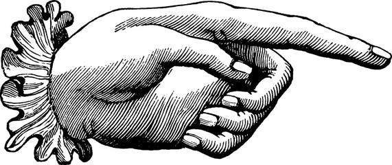 Vintage image finger pointing