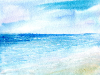 Landscape with sea.Marine image.Watercolor hand drawn illustration.