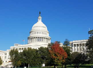 The Western facade and cupola of the United States Capitol Building, on Capitol Hill in Washington DC, USA.