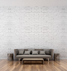 living room and brick wall