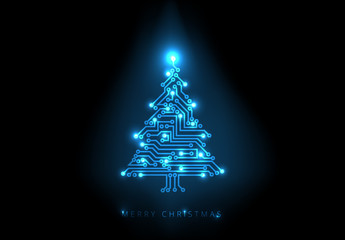 Blue Computer Chip Christmas Tree Illustration