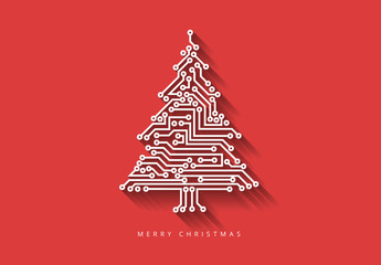 Computer Chip Christmas Tree Illustration on Colored Backgrounds