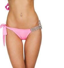 Body part women thigh. Pink underwear
