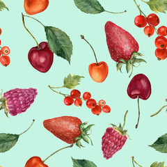 Summer berries watercolor seamless pattern. Watercolor strawberry, cherry, redcurrant, raspberry and leaves isolated on blue background. For design, textile and background.