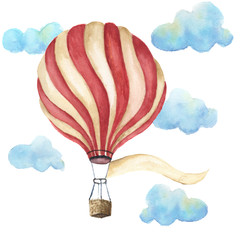 Watercolor hot air balloon set. Hand drawn vintage air balloons with  clouds, banner for your text and retro design. Illustrations isolated on white background. For design, print and textile.