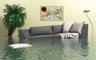 Überflutetes Wohnzimmer