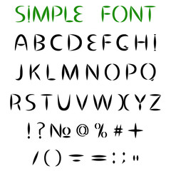 Simple alphabet. Uppercase letters with sharp ends, and punctuation.
