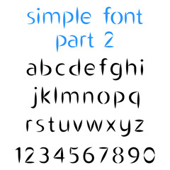 Simple alphabet, the second part. Lowercase letters and numbers