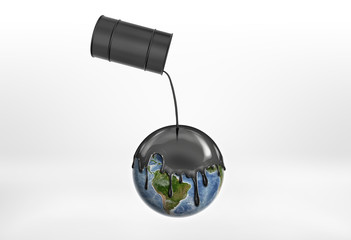 Oil pouring from the black barrels on the Globe Earth for contaminating.