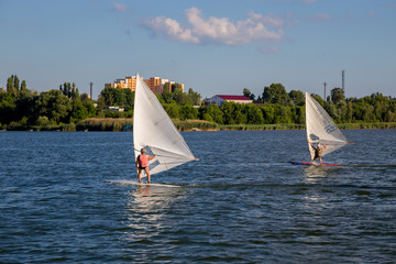 Surfing and windsurfing at Kurchatov water reservoir