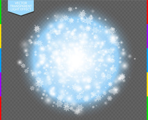 Wall Mural - White abstract explosive with spark and snowflake. Glow blue star burst light effect. Sparkles winter vector transparent background. Christmas or New Year flash Concept.