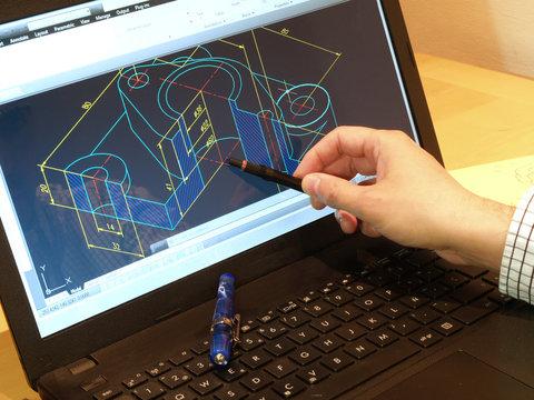 engineer working on computer design