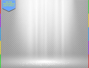 White vector light effect on transparent background. Glow ray and sparkling scene design. Sparks on floor. Shining show room