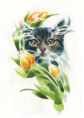 cat is drawn in pencil,brush and watercolor