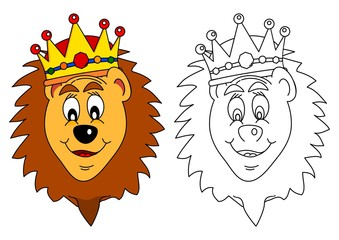 King of beasts crown - lion as a coloring book for young children - vector eps