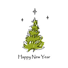 Hand drawn Christmas tree. Happy New Year greeting card. Vector