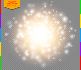 Abstract golden explosion with white sparks modern design. Glow star burst or firework light effect. Sparkles light vector transparent background. Christmas Concept. Flash flare or sparkler
