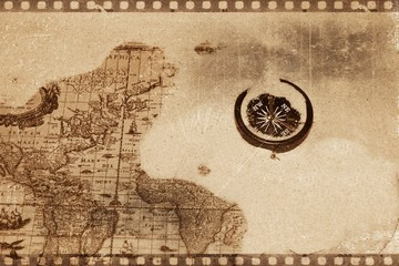 Compass on an old map