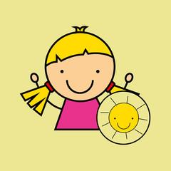 girl happy cartoon sun smlile vector illustration eps 10